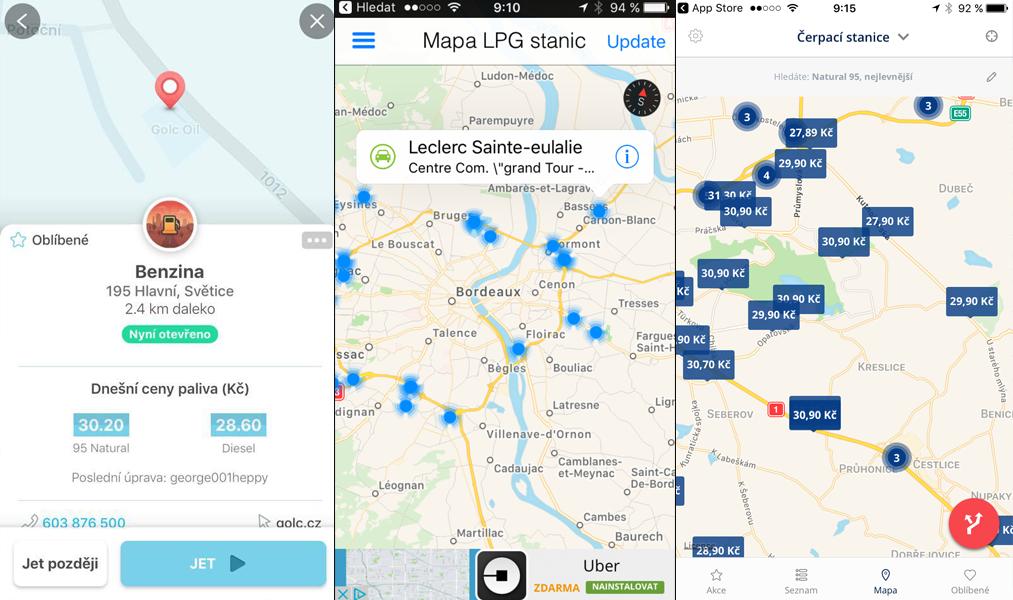 Ceny benzínu v aplikaci Waze