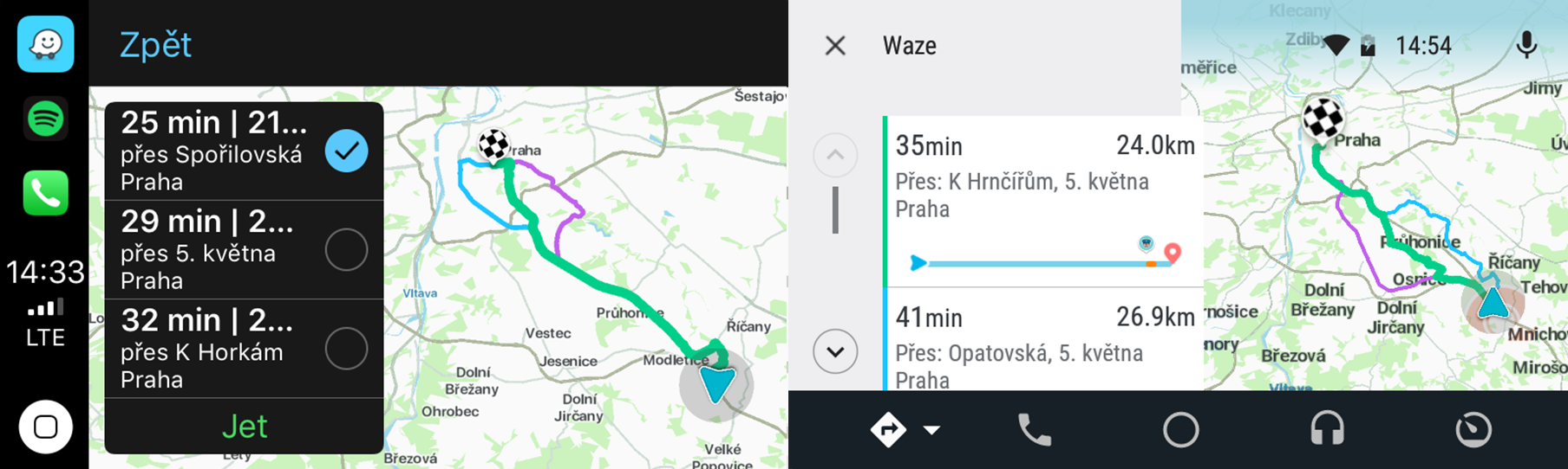 Waze - alternativní trasy
