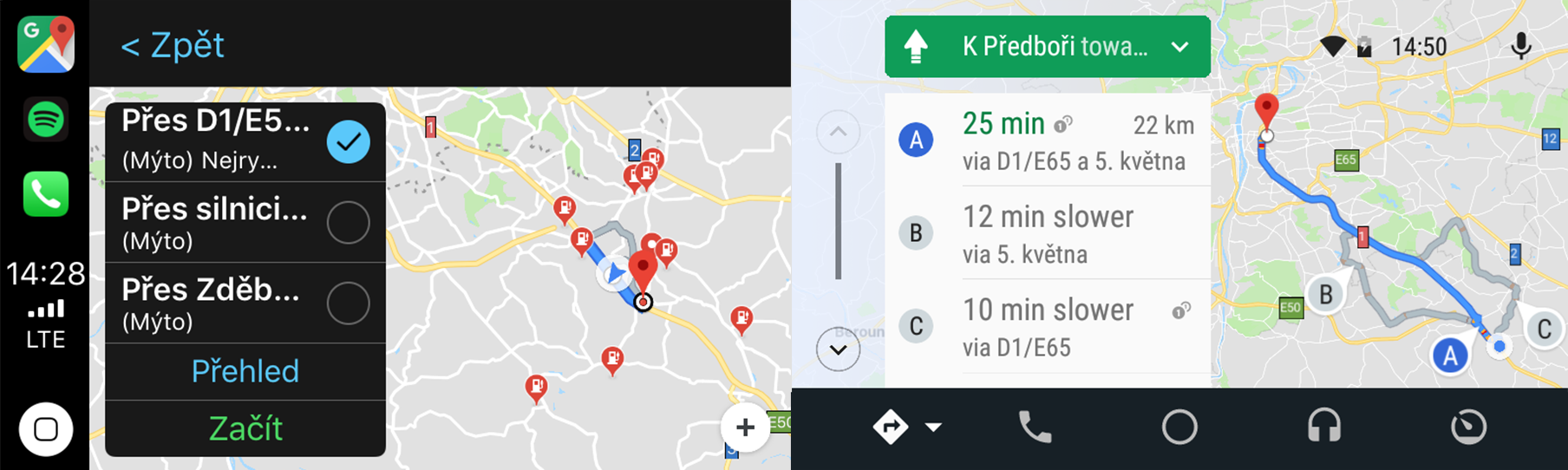 Google Maps - trasa