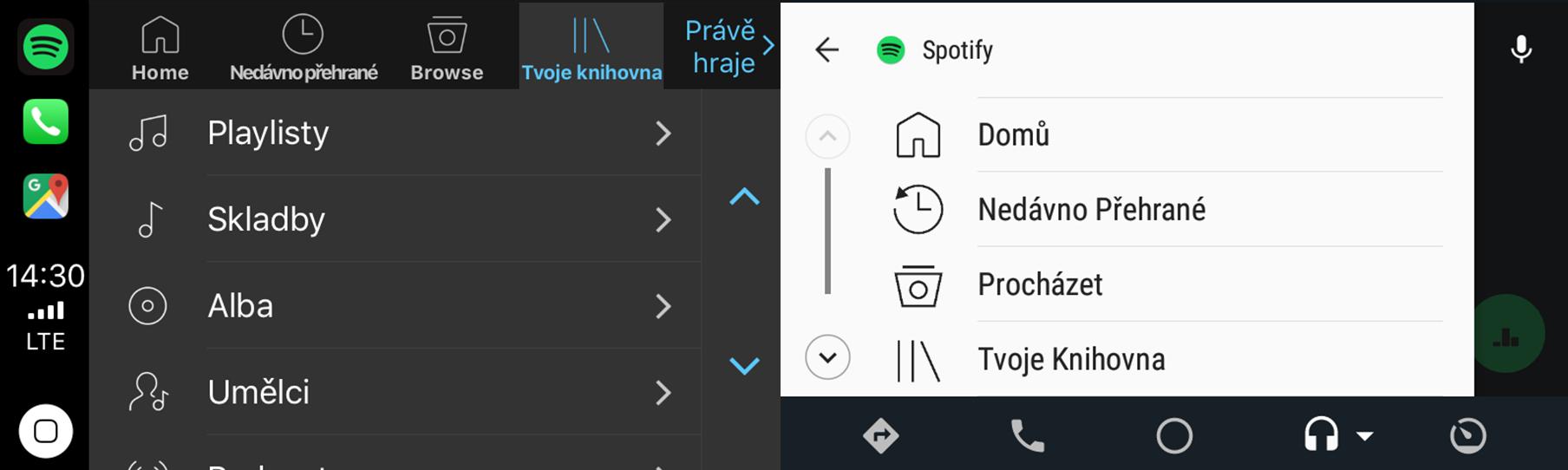 Spotify - menu